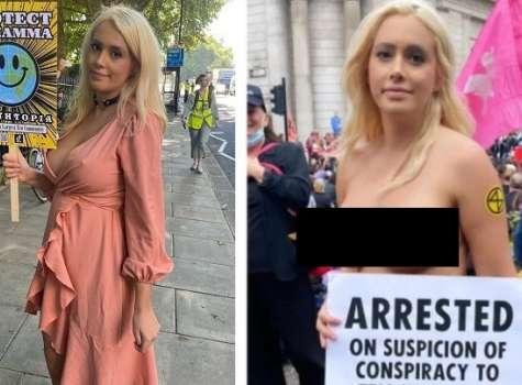 Laura Amherst, de 31 años, es una activista ecológica que protesta en topless por el cambio climático