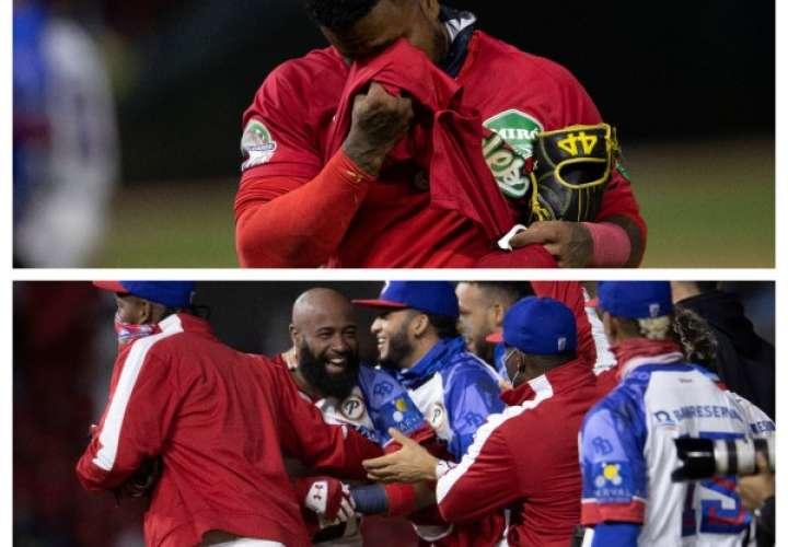 Allen Córdoba (arriba), lamenta la derrota de Panamá. Abajo, los dominicanos celebran el triunfo.Foto: EFE