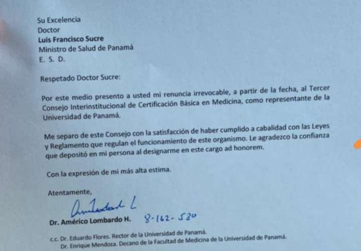 Dr. Lombardo renuncia al consejo de certificación básica de medicina