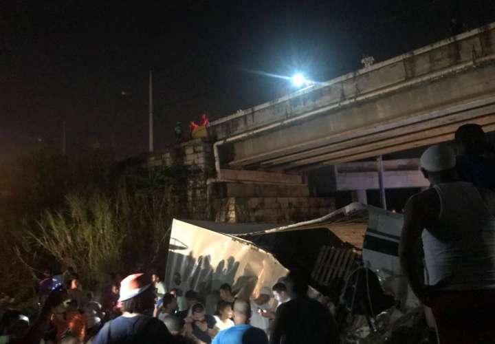 Mula cae debajo de un puente
