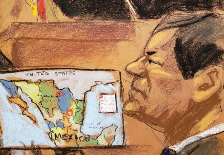 Reproducción fotográfica de un dibujo realizado por la artista Jane Rosenberg donde aparece el narcotraficante mexicano Joaquín