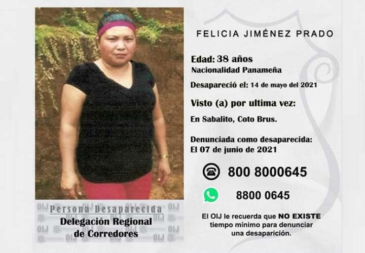 En la imagen Felicia Jiménez Prado, desaprecida en Costa Rica.