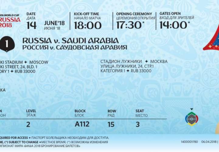 Las entradas contienen algunos elementos de seguridad, como son un código de barras situado en el lateral derecho y un holograma junto al plano sectorial del estadio./ Fifa.com