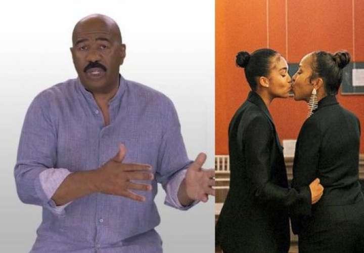 Hija y esposa de Steve Harvey son criticadas por besarse en la boca