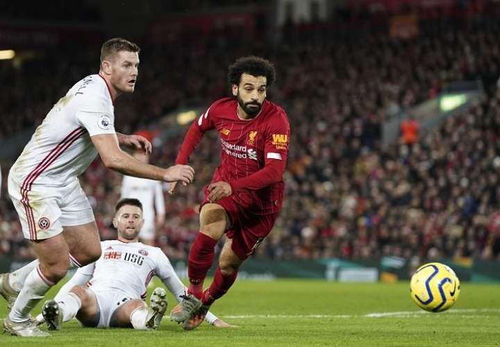 Mohamed Salah abrió el marcador a los cuatro minutos. Foto: AP