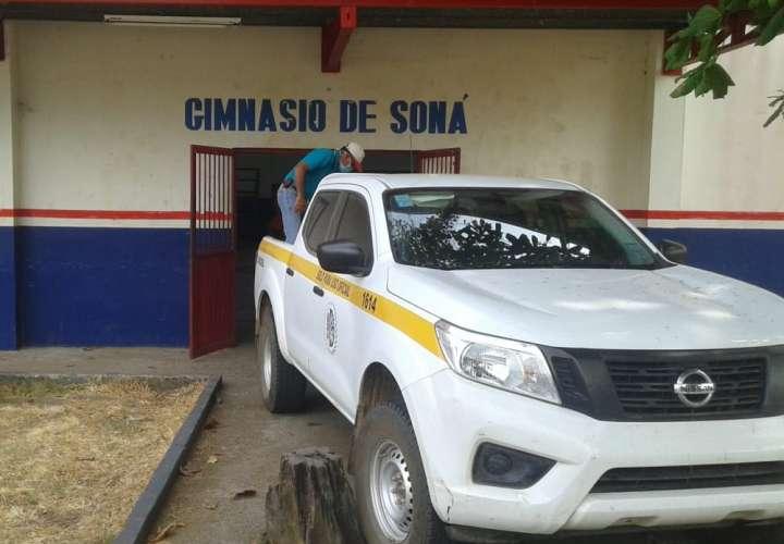 El gimnasio de Soná, en la provincia de Veraguas, se está usando como centro de acopio.
