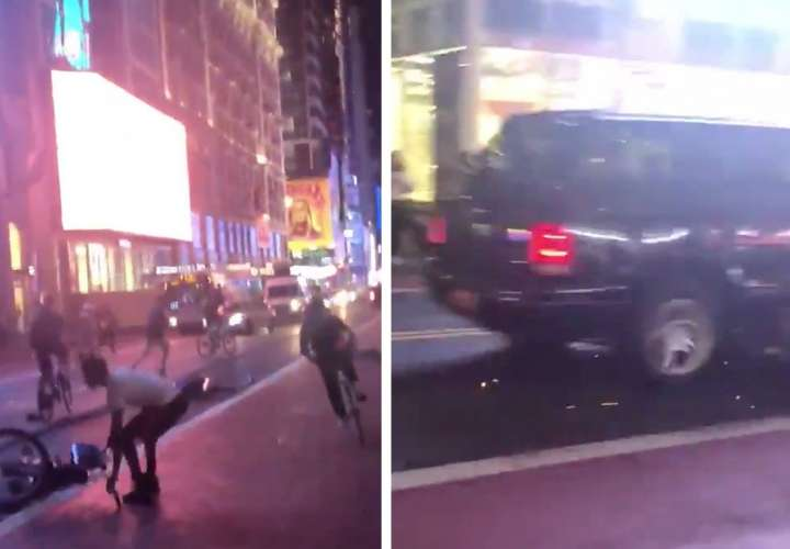 Camioneta atraviesa multitudinaria manifestación contra el racismo en Nueva York