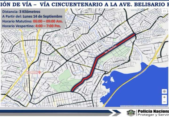 Inversión de carriles en la vía Santa Elena a partir del lunes