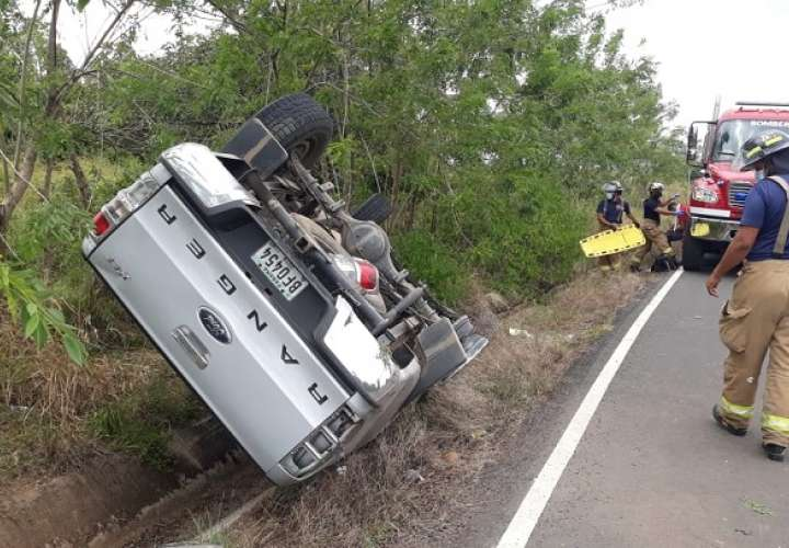 El accidente fue atendido por unidades del Cuerpo de Bomberos de Herrera.
