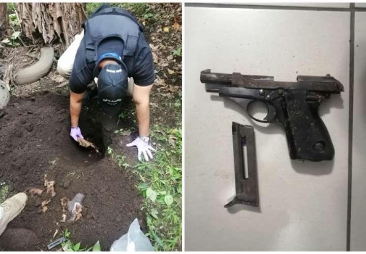 Allanan residencia y encuentran arma enterrada en el patio