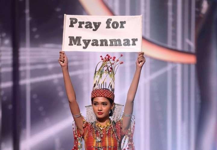 Miss Myanmar, ganadora del mejor traje típico podría ir a prisión