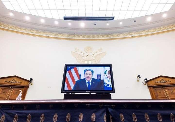 El secretario de Estado de EE.UU., Antony Blinken, testificó virtualmente ante el Comité de Asuntos Exteriores de la Cámara de Representantes en el Rayburn House Office Building en Washington (EE.UU.). EFE
