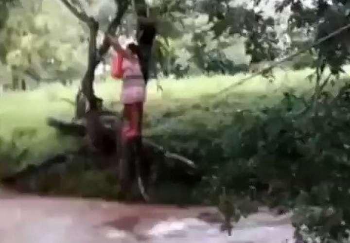 Se la rifan para cruzar el río  [Video]