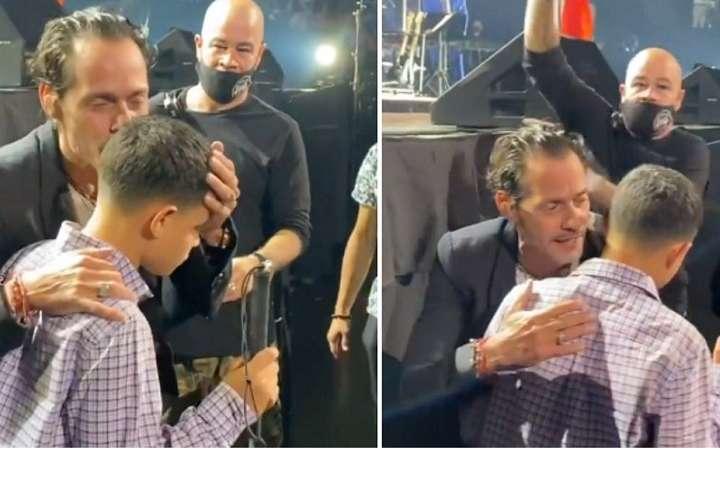 Marc Anthony le cumple el sueño a un joven no vidente en pleno concierto