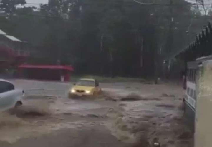Las precipitaciones, que se mantuvieron toda la tarde, provocaron que el río que pasa por Nuevo San Juan centro se desbordara.