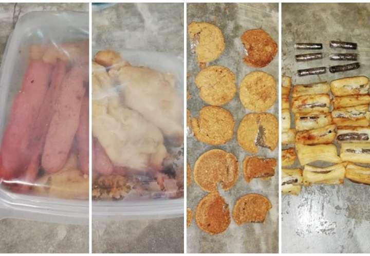 Yuca frita y galletas preñadas de coca