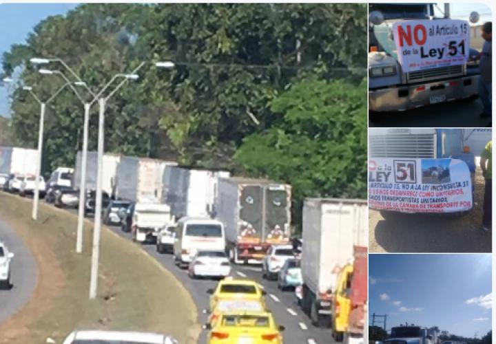 Camioneros  realizan caravana para exigir derogación de Ley 51