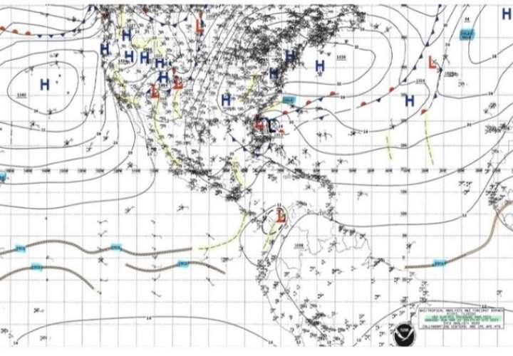 Emiten aviso de vigilancia por sistema de baja presión al noreste de Panamá