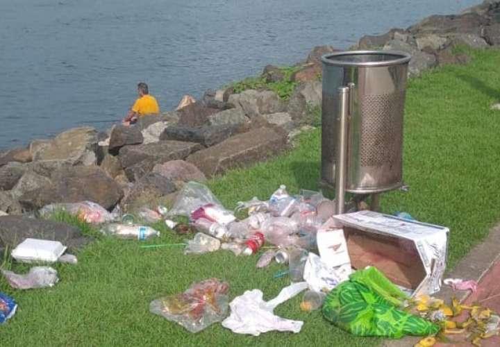 Denuncia: Cochinos tiran la basura fuera del cesto en Amador
