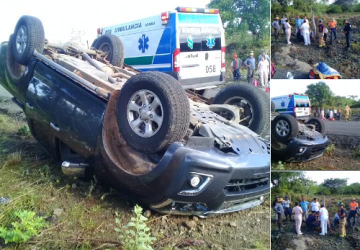 7 heridos por vuelco de pick up en Veraguas
