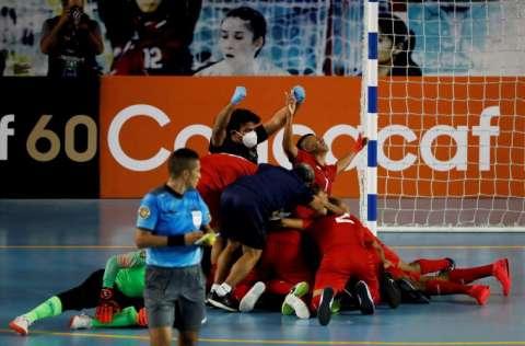 Festejo del equipo panameño. Foto:EFE