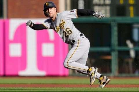 Adam Frazier, de 29 años, lidera el béisbol de las Grandes Ligas en el departamento de hits conectados este año. Foto: AP