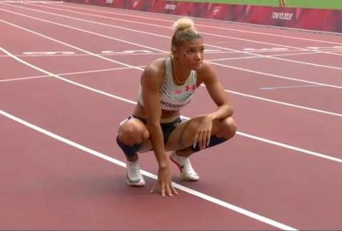 Gianna Woodruff luego de terminar su heat clasificatorio.