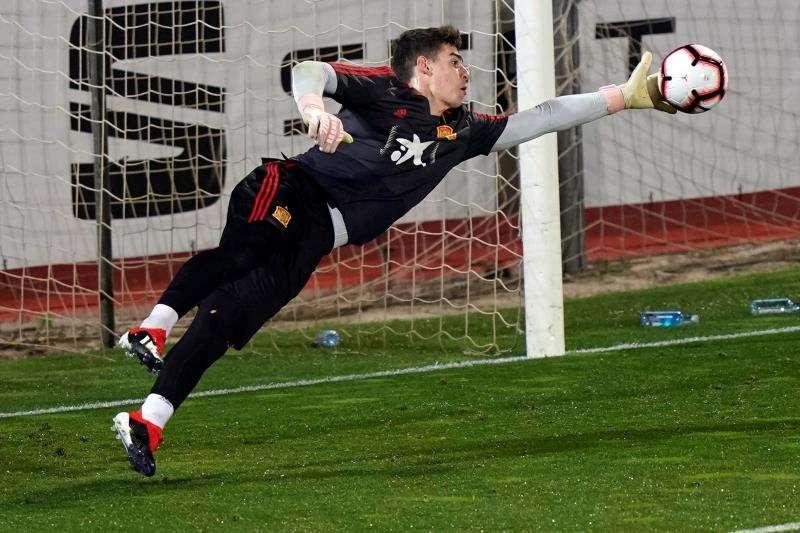 Kepa en un entrenamiento con la Selección de España antes del partido contra Suecia