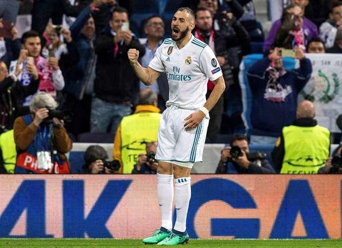 El delantero francés del Real Madrid Karim Benzema celebra el segundo gol de su equipo. Foto: EFE