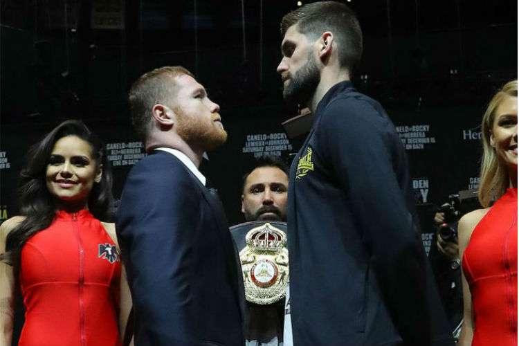 """Saúl """"Canelo"""" Álvarez (izq.) y Rockie Fielding durante la conferencia de prensa. Foto: AP"""