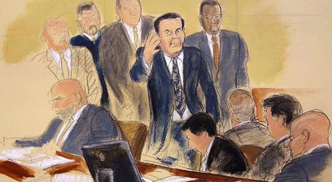 Imagen de Joaquín el 'Chapo' Guzmán en la sala del tribunal (Elizabeth Williams vía AP).