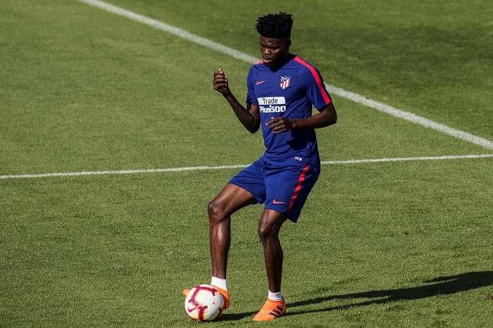 El centrocampista ghanés del Atlético de Madrid, Thomas Partey, durante un entrenamiento del equipo. EFE/Archivo