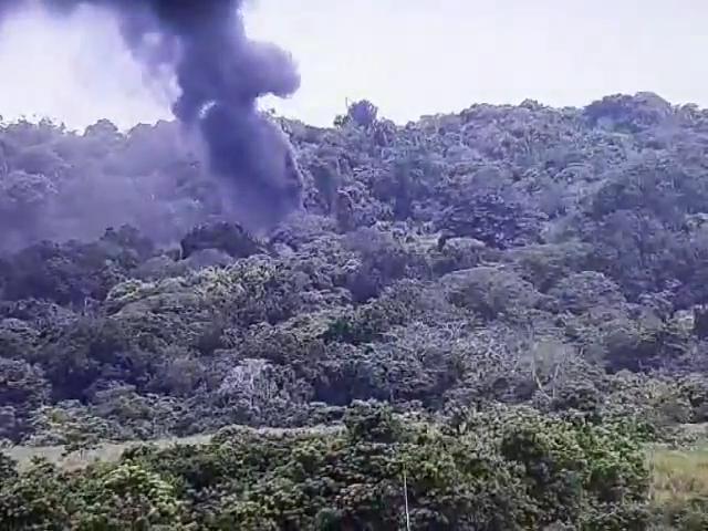 La explosión seguida de una gruesa columna de humo negro fue captada por las cámaras del Centro de Operaciones Nacionales.