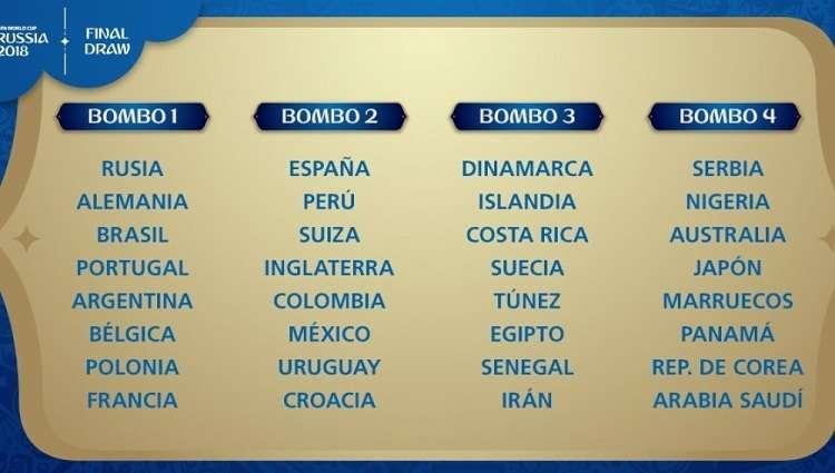 Así quedan los cuatro bombos con los 32 equipos para el sorteo del Mundial de Rusia. Foto: @fifacom_es
