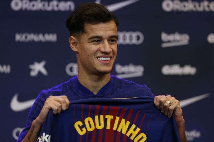 Philippe Coutinho en el acto de presentación como nuevo miembro del Barcelona FC. Foto: AP