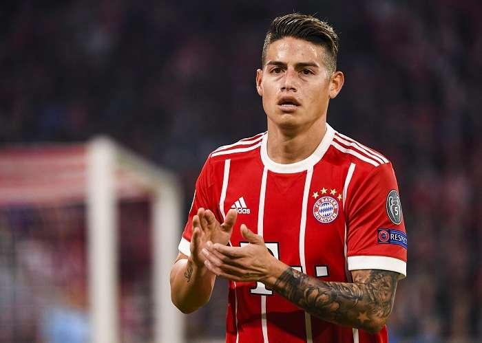 James durante el partido de ida de las semifinales de la Liga de Campeones entre Bayern Munich y Real Madrid . Foto: EFE