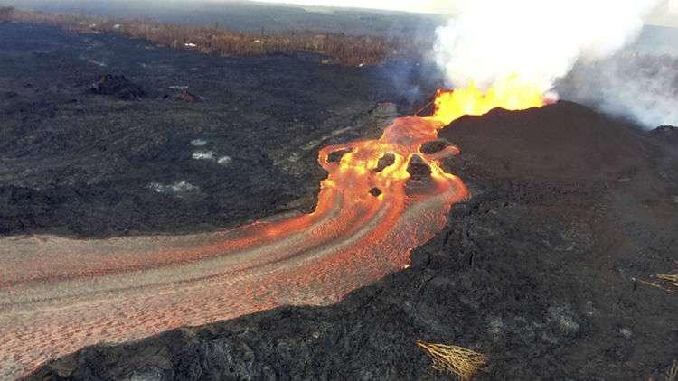 Vista general de la erupción volcánica del Kilauea. Foto: AP