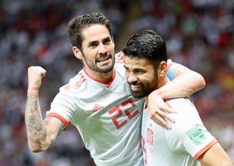 El delantero Diego Costa mostró su satisfacción por aportar goles a la selección española tras marcar tres en los dos partidos del Mundial. Foto EFE