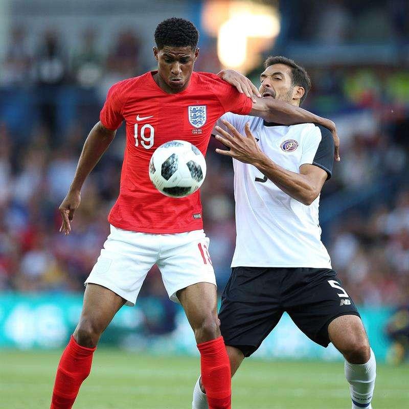 Marcus Rashford, engañó al arquero David Ospina para que Inglaterra ganara por primera vez una serie desde los 12 pasos en una Copa del Mundo. Foto EFE