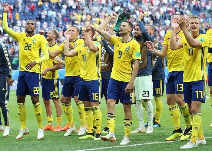 Suecia celebra su pase a cuartos de final del mundial Rusia 2018./EFE