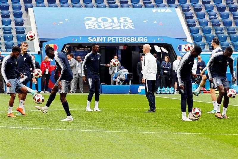 La selección francesa entrena en San Petersburgo. Foto EFE
