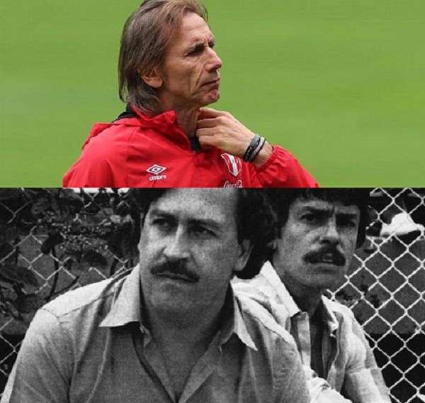 Ricardo Gareca, seleccionador peruano, y Pablo Escobar. Foto: EFE