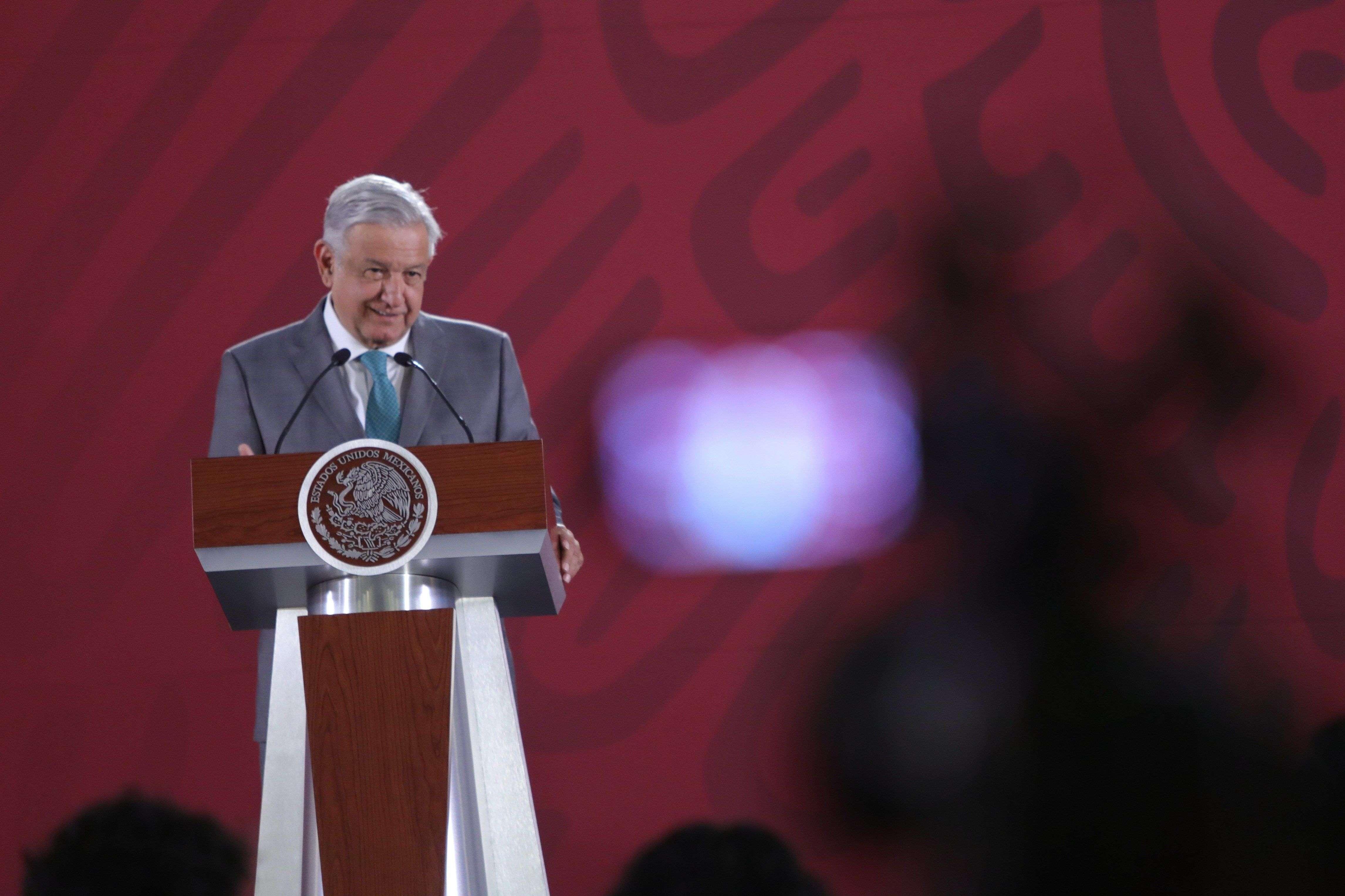 Vistas de la rueda de prensa diaria del presidente de México.
