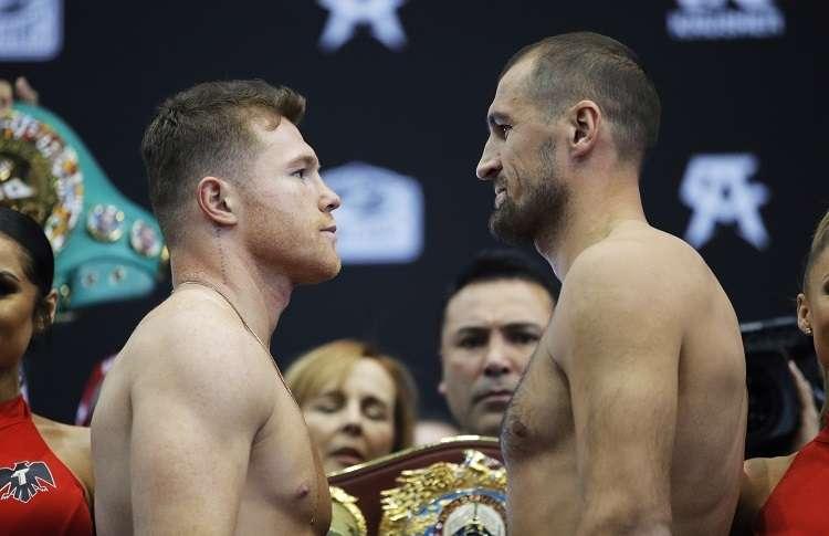 Saúl 'Canelo' Álvarez no tuvo problemas en hacer el peso de 174.5 libras y Sergey Kovalev 175 1/4. tuvo que rebajar el 1/4 de libra excedente. Foto: AP