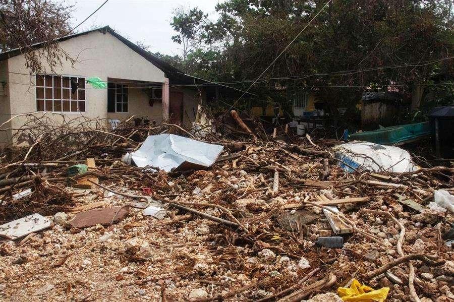 Vista hoy de árboles caídos y viviendas dañadas en San Andrés (Colombia).