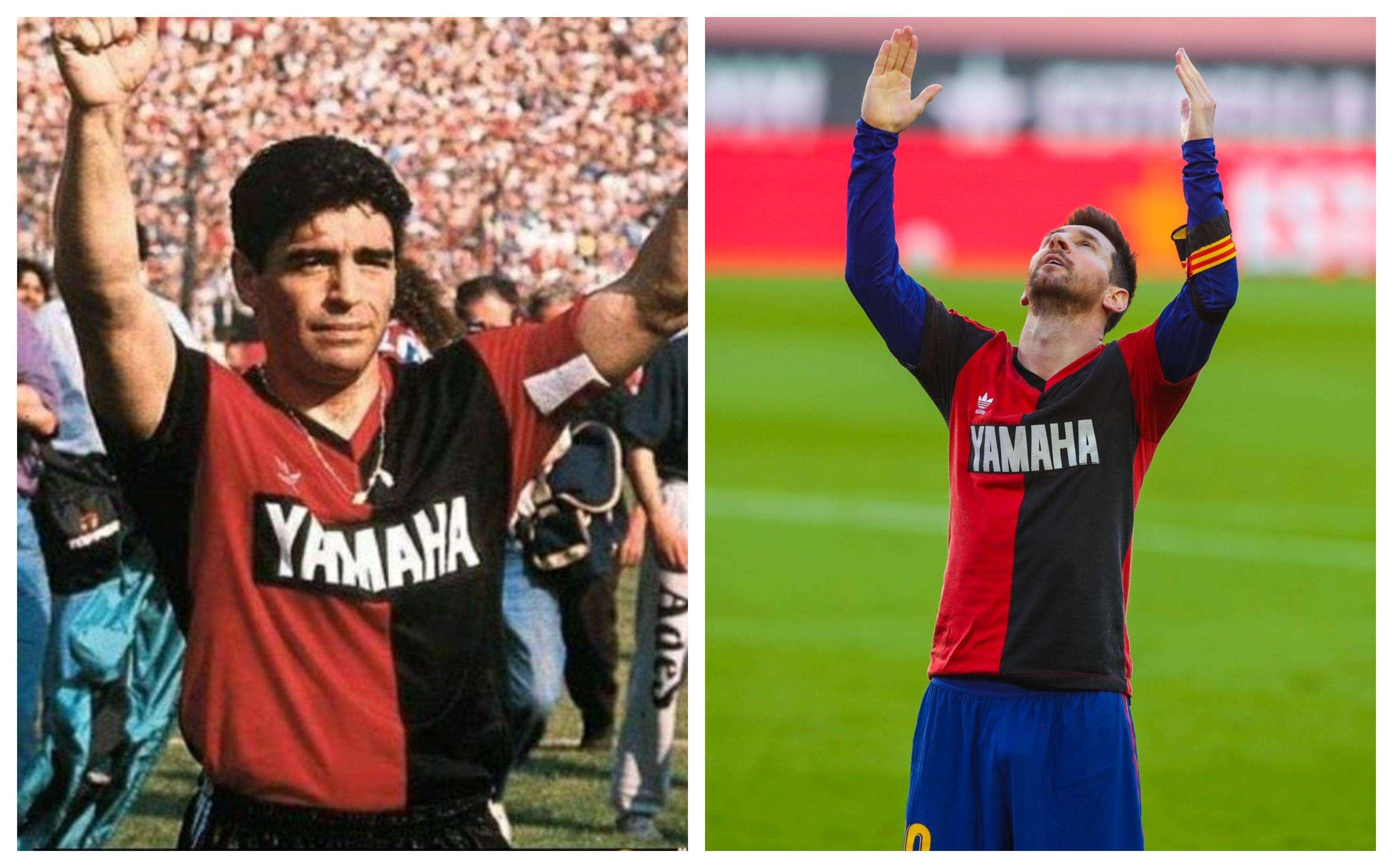 Messi celebró con la camiseta de Newell's.