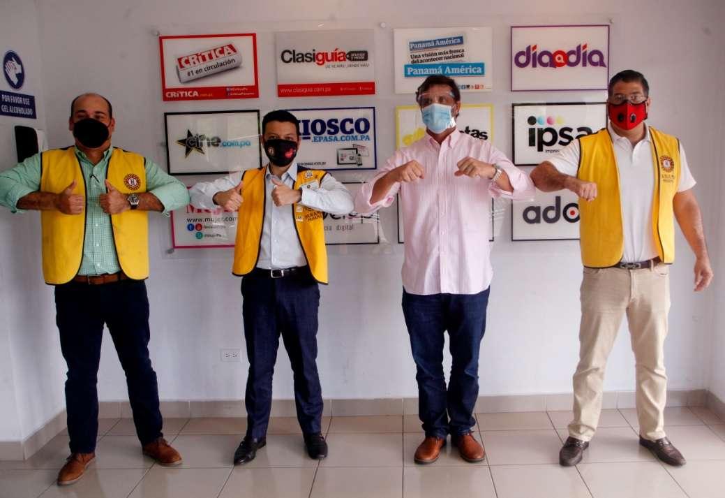 Juan Carlos Díaz, Recaudación - Patrocinio; Giacomo Tamburrelli, presidente del Club Activo 20-30 de Panamá; Federico Brisky, gerente general de Grupo Epasa y Roberto Sayavedra, presidente de Teletón 20-30 2020.
