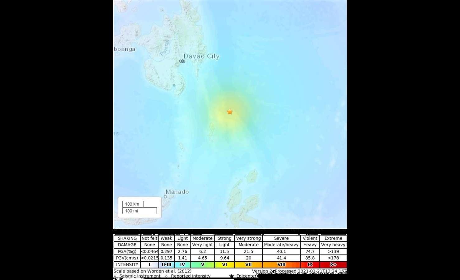El temblor fue localizado a 95 kilómetros de profundidad y a 210 kilómetros al sureste de Pondaguitan. EFE