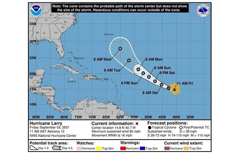 Imagen cedida por la Oficina Nacional de Administración Oceánica y Atmosférica (NOAA) a través del Centro Nacional de Huracanes (NHC) donde se muestra el pronóstico de cinco días de la trayectoria del huracán Larry en el Atlántico.