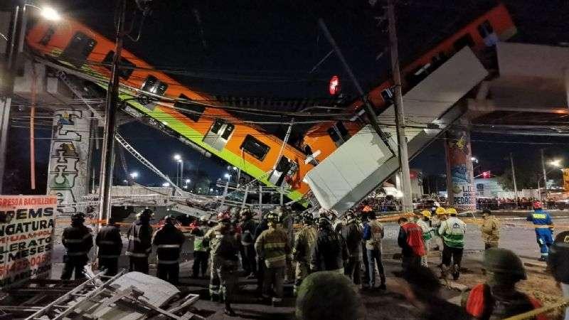 Vista general del accidente de la línea 12 del metro de la Ciudad de México, que dejó 26 muertos en mayo.